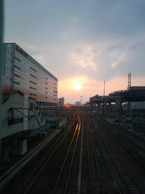 鹿児島本線の夕日